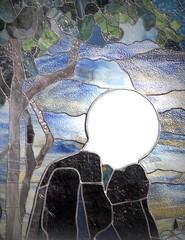 Lightbulb Head (Sea Moon) Tags: sunlight white church outside globe glow head stainedglass illusion blank