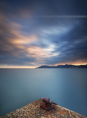 Sunset on the Bay of Cannes #2... ( Alpes-Maritmes ~ France ) (Yannick Lefevre) Tags: longexposure sunset seascape france photoshop landscape bay nikon cotedazur raw nef cannes jetty tripod perspective wideangle paca filter provence fx paysage dri cloudscape manfrotto hoya esterel frenchriviera alpesmaritimes ndfilter nd400 mandelieulanapoule poselongue nikoncapturenx d700 52week ndx400 capturenx2 yllogo nikkor1635mmf4 yannicklefevre||photography 52week43