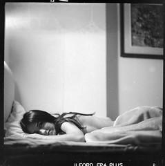 The Girl (Salt.as) Tags: portrait bw white black 120 6x6 film home girl monochrome analog bed with sony 14 figure scanned medium format 28 kiev vega 19 6c ilford fp4 nex areti 12b ilfosol3