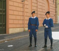 Swiss Guardsmen (Tiigra) Tags: 2007 italy rome vatican city color dress people portrait road working vaticancity