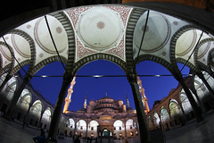 Blue Mosque (I.M.W.) Tags: canon turkey lights evening minaret istanbul mosque fisheye dslr bluemosque 8mm sultanahmetcamii sultanahmedmosque canon550d walimex8mm135