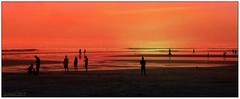 Bali 66 Sunset (scinta1) Tags: bali 2013 legian beach sunset waves sea water exquisitesunsets orange red ocean tranquil people silhouette standing sand peaceful quiet kuta