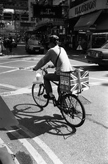 (David Davidoff) Tags: life street people bw color monochrome goggles delivery analogue colonialism leicam3 blackwhitefilm kentmere bikebicycle summaron35mmf35