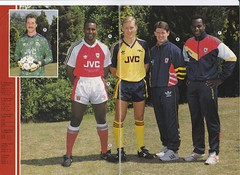 Arsenal Autumn 1990 Merchandise Catalogue - Page 2&3 (The Sky Strikers) Tags: autumn ads goalie thomas shell rocky gear dixon suit kits merchandise tat catalogue arsenal 1990 tracksuits seaman marwood rocastle