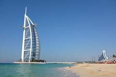 Burj Al Arab, with Jumeirah Beach Hotel in the background (titan3025) Tags: beach hotel al dubai arab emirate jumeirah burj 2014