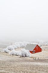 Into the Unknown (Ryan McGinty) Tags: winter freezingfog landscape hoarfrost scenic idaho unknown rollinghills redbarn wheatfields palouse ryanmcginty