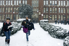 Girl Carried Through The Snow Lane Tech High School January 2012 (neopsychedelia) Tags: school snow high tech january lane hero 2012 carried lanetech lanetechhighschool january2012