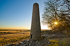 The Old Chimney (stumpyheaton) Tags: old uk blue trees sunset chimney england sky brown sun seascape beach yellow jack outside bay sand nikon rocks day branches jenny sigma lancashire clear copper rays morecambe carnforth d5100