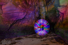Jellyfish Orb at Cullercoats (solidtext) Tags: lightpainting beach jellyfish orb cave tynemouth cullercoats v24 lenser