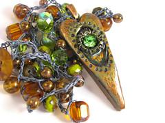 Polymer Clay Crochet Necklace (ChickieGirlCreations) Tags: flower green bronze necklace heart polymerclay bloom inspirational brass wordart beadedjewelry crochetjewelry mixedmediajewelry handmadeetsy heartjewelry polymerclaypendant