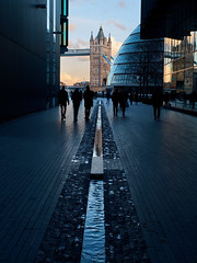 Tower Bridge (scottprice16) Tags: england london architecture modern bridge towerbridge lines leading water cityhall southbank winter february street people shadows fujix30 xtrans reflections evening cloud
