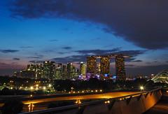 Skyline in Blue (elenaleong) Tags: marinabarrage singaporeskyline bluehour lightsinthecity landmark construction elenaleong mbs cityscape sundown dusk