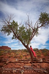 In some desert (missykiou) Tags: tree sheer long dress high heels red tall black outdoor desert utah