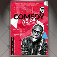 Stand Up Comedy - Premium Flyer PSD Template (psdmarket) Tags: act acting comedian comedy entertain humor jokes laugh live microphone music night out perform pub show stage standup theatre tv