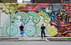 Bike mural by Cam Novak + Roadsworth  1 (Sebastien Morin) Tags: street city urban streetart abstract color art colors lines bike graffiti mural paint downtown artist montréal curves shapes spray local ville centreville stecatherine urbain stmarc semainevélo