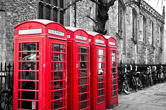 Telephone Booth (Sarito Photography) Tags: cambridge red england blackandwhite color colour bicycle booth telephone marketplace telephonebooth selectivecolouring