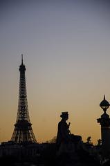 Paris (Candice Elizabeth) Tags: travel sunset paris france tower statue nikon europe eiffel sillouette d7000 candiceelizabeth