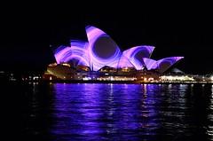 Circles on Opera House (premzero) Tags: house night boat opera harbour sydney vivid 2013