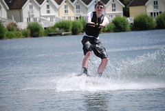 Robert on Spring Lake (johnrobertbarber) Tags: park water wake boarding cotswold