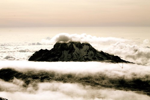 Mawenzi Peak hiding behind the clouds