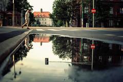 dive (ewitsoe) Tags: street city summer man reflection water pool work 35mm buildings mirror evening warm crossing view dusk poland polska pedestrian shorts hurry crosswalk poznan nikond80 ewitsoe