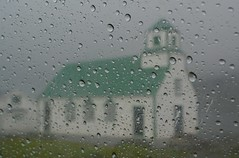 Rain  (~Ranveig Marie~) Tags: pictures green church window car rain weather grey drops day photos gray images explore rainy faroeislands kirkja 252 chirch faroes froyar fryene frerne explored suuroy sandvk froyum