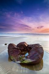 Broken | Moeraki Boulders, New Zealand (v on life) Tags: ocean longexposure newzealand beach water vertical sunrise moss otago moerakiboulders gnd graduatedneutraldensity