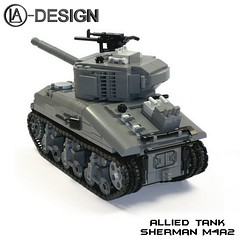 LEGO Custom Panzer Tank Sherman M4A2 2 (LA-Design2012) Tags: usa army tank lego wwii ww2 instructions pdf custom xml sherman panzer moc allied bauanleitung ladesign alliiert custombricks