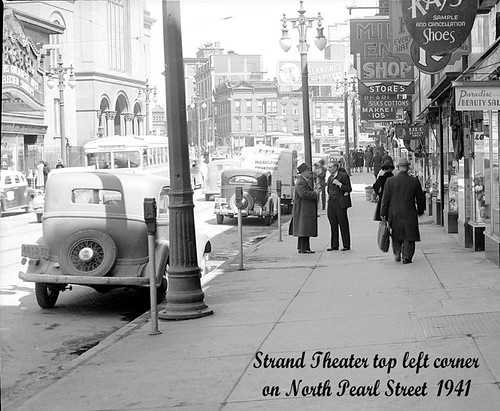 North Pearl st with First Reformed Church and the Strand Movie Theater   1941  albany ny 1940s