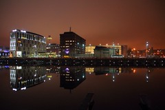 It's funny how we feel so much but don't say a word... (spideysenses77) Tags: life city uk red england sky storm reflection love water beautiful night digital liverpool docks radio canon hotel europe glow northwest quote albert deep hilton calm queens reflect tamron lfc scouser ynwa 1100d justiceforthe96