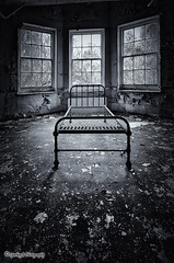Sweet Dreams ... (sparkeyb) Tags: light blackandwhite bw abandoned window wet hospital mono blackwhite bed nikon closed decay rusty sigma monotone creepy explore textures urbanexploration nhs disused rotten mould peelingpaint 1020mm asylum derelict essex colchester decaying damp textured psychiatric crumbling mentalhospital urbex sweetdreams mouldy urbexing severalls monotonal d7000 silverefex silverefexpro sparkeyb