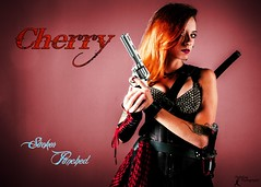 Sucker Punched: Cherry Tile Card (FightGuy Photography) Tags: sexy scarf cherry redhead armor weapon pistol strap sword corset revolver jessg suckerpunched