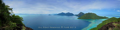 Panoramic view of Tun Sakaran Marine Park tropical island in Semporna, Sabah, Malaysia. Taken from Bohey Dulang Island. (mohdfar8) Tags: ocean park travel blue sea summer vacation sky mountain holiday green tourism beach nature water beautiful beauty coral clouds contrast landscape island bay coast boat high marine asia paradise day view natural bright jetty south horizon dream scenic may panoramic east fisheye clear shore malaysia borneo tropical coastline sabah pulau semporna dulang bohey