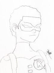 Robin line art (obrian_robinson) Tags: boy art robin comics wonder african line american batman 27 detective