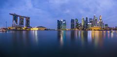 (hak87) Tags: city blue skyline marina river bay singapore hour esplanade cbd sands mbs