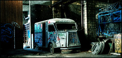 The Mystery Machine (murddoc) Tags: old blue france abandoned car truck lost place places voiture used bleu camion truk hdr usine vieux abandonned urbain gost urbex abandonn us friche anap murddoc