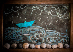 65.365 Gone Sailing (Sabrina Rohwer Photography) Tags: ocean life wood sea shells photography boat sketch chalk still origami colorful day waves drawing pastel doodle sail 365 chalkboard