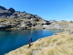 A corner of Lake Hope, The Remarkables NZ (flashmick) Tags: autumn newzealand mountain lake snow water rock walking hope march hiking south southisland otago queenstown tramping wakatipu wye 2014 theremarkables lakehope wyecreek