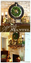 Spring Mantel Collage (dining delight) Tags: bunny birdcage fireplace ivy lantern candlesticks minilights heisrisen boxwoodwreath blackroundmirror |springmantel
