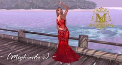{Meghindo's} ~ Red Roses ~ Red Lace Gown ~ (Meghindo) Tags: life new pink red summer de la spring oscar dress feather skirt clothes collection second gown versace valentino mental kaos 2014 akina renta meghindo mentalkaos