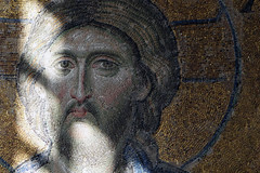 Christ's face, Deësis mosaic in sunlight, Hagia Sophia