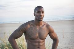 (miriamhope) Tags: sunset man black male beach muscles tattoo sand muscular dunes abs