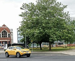 Nissan Juke 2014/15 Model. (ManOfYorkshire) Tags: car yellow design automobile nissan suv quirky styling doncaster juke
