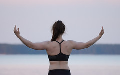 Weight of the world (kartt_m) Tags: sea portrait woman water girl sport pose outdoors back nikon girlfriend arms muscle muscular sigma ponytail fitness gym 150600 d7200 150600sports