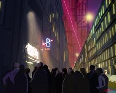 night bar (Christoffer Boman) Tags: conceptart graphicdesign digitalart doodle nightlife future concept street crowd people bar cartoon