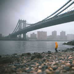 'Exploring', United States, New York, New York City, Manhattan Bridge, Dumbo (WanderingtheWorld (www.LostManProject.com)) Tags: new york city nyc bridge rain yellow brooklyn river grey photo kid industrial child treasure manhattan dumbo east explore rainy capture raincoat span thelostman
