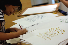 Jo, numbering and signing on every piece on her art prints. (the little drm store) Tags: school red roses birds typography fly high poem friendship graduation exhibition retro nostalgia nostalgic forgetmenot joanne lim autographbook