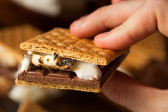 Homemade S'more with chocolate and marshmallow (brent.hofacker) Tags: camp food dessert yummy melting cookie sweet chocolate sticky fluffy tasty sandwich sugar crispy marshmallow snack ingredients smores treat cracker melted graham smore indulgence confectionery unhealthy roasted tempting toasted gooey sweetfood