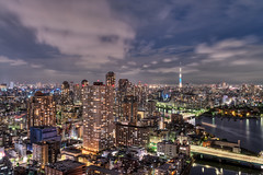 Tsukishima Nightscape (Yuga Kurita) Tags: city sky urban japan night clouds tokyo cityscape nightscape  nightscene nightview  tsukishima hdr
