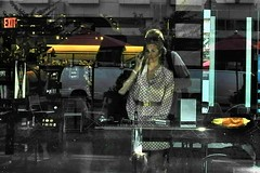 private moment public (omoo) Tags: newyorkcity window glass girl self reflections westvillage makeup streetscene meatpackingdistrict cosmetics greenwichvillage sephora makeupartist latemorninglight ninthavenueandwest13thstreet fscn0061 privatemomentpublic womanhavingmakeupapplied